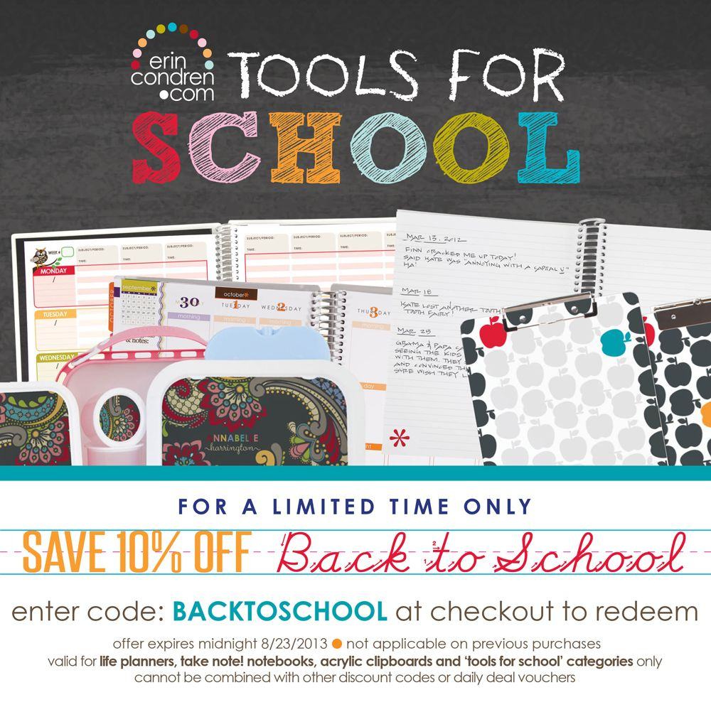 save 10% off our life planners, notebooks, teacher planners and tools for school!