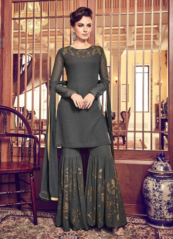 Dark Grey Embroidered Gharara Suit Features A Swiss Georgette Top