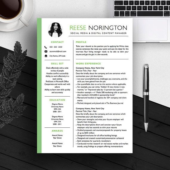 creative resume template cv template cover letter for ms word iwork - Iwork Resume Templates