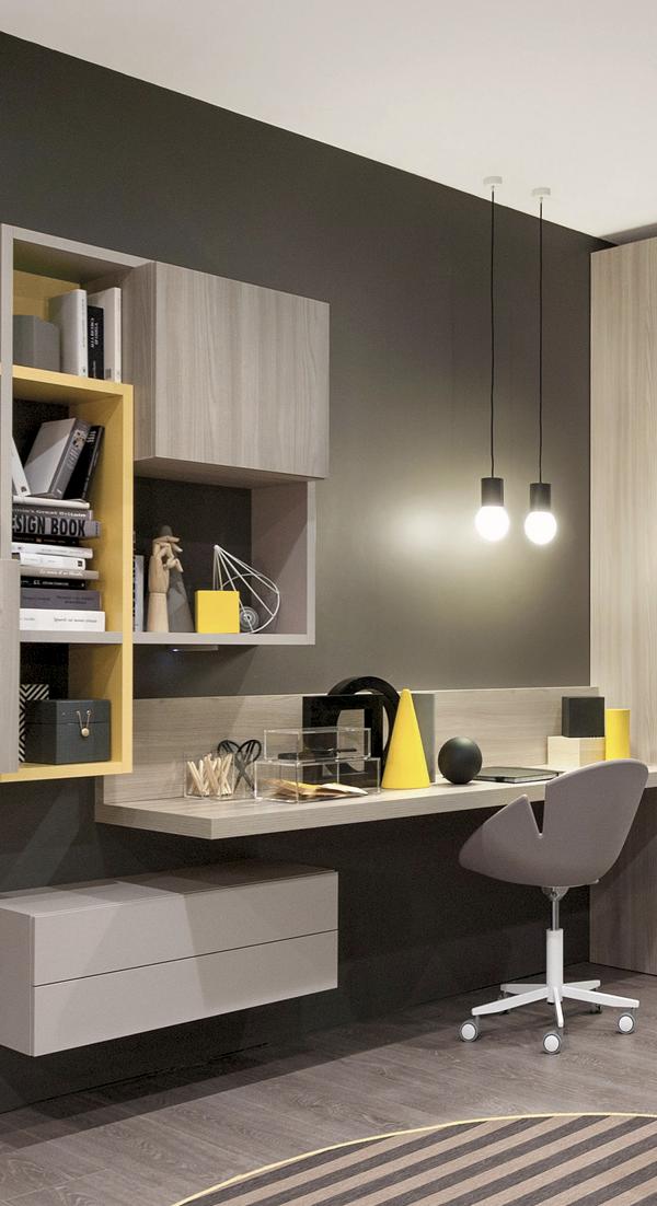 Mueble melamina color madera teka italia amarillo gris, muebles de ...