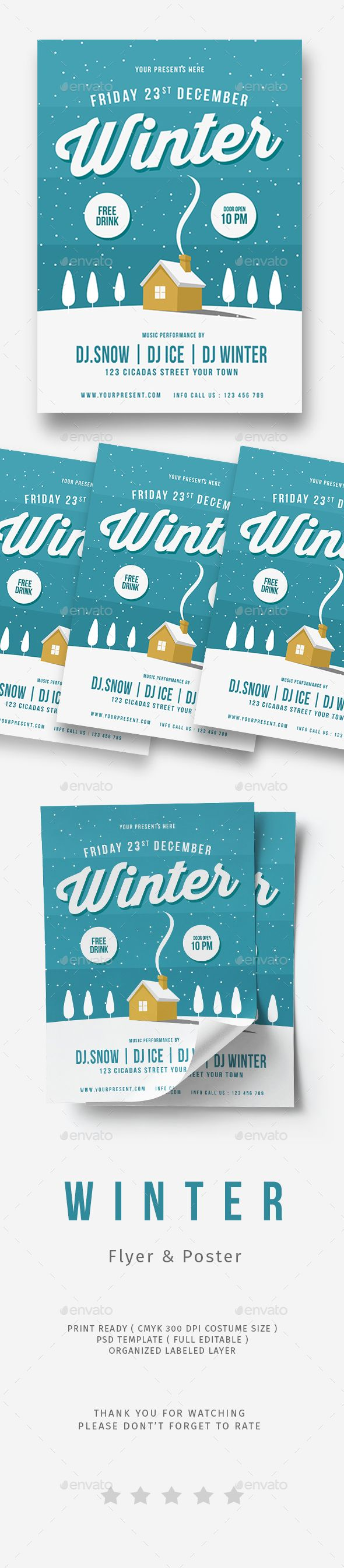 Winter Flyer  Flyer Template Fonts And Flyer Printing