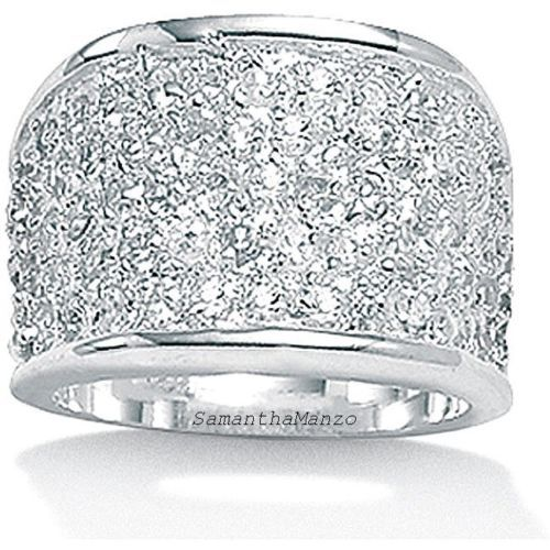 Sparkle-Crystal-Micro-Pave-Set-Cz-BLING-Wedding-Mens-Ladies-Cocktail-Ring-Band