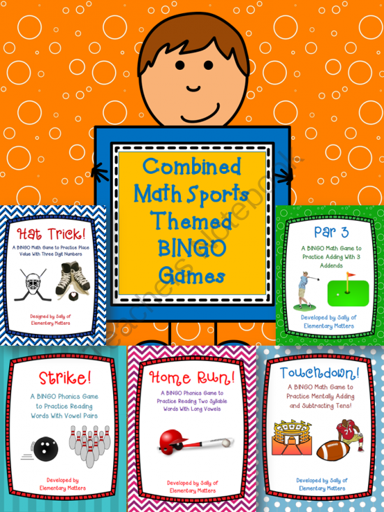 Combined Math Sports Themed BINGO games from Elementary Matters on TeachersNotebook.com -  (57 pages)  - Here are 5 Bingo type games with dice to practice basic math skills. The roll of the dice determines which number to cover. Sometimes there's a decision to make, so the children get to use some strategic thinking.   These games address these Mathemat