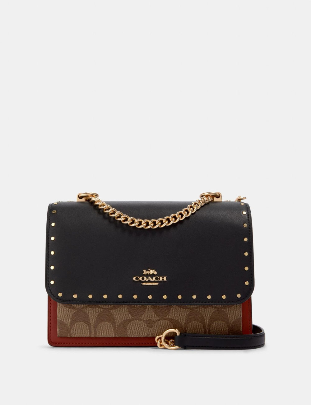 Klare Crossbody In Signature Canvas With Rivets In 2021 Signature Canvas Coach Bags