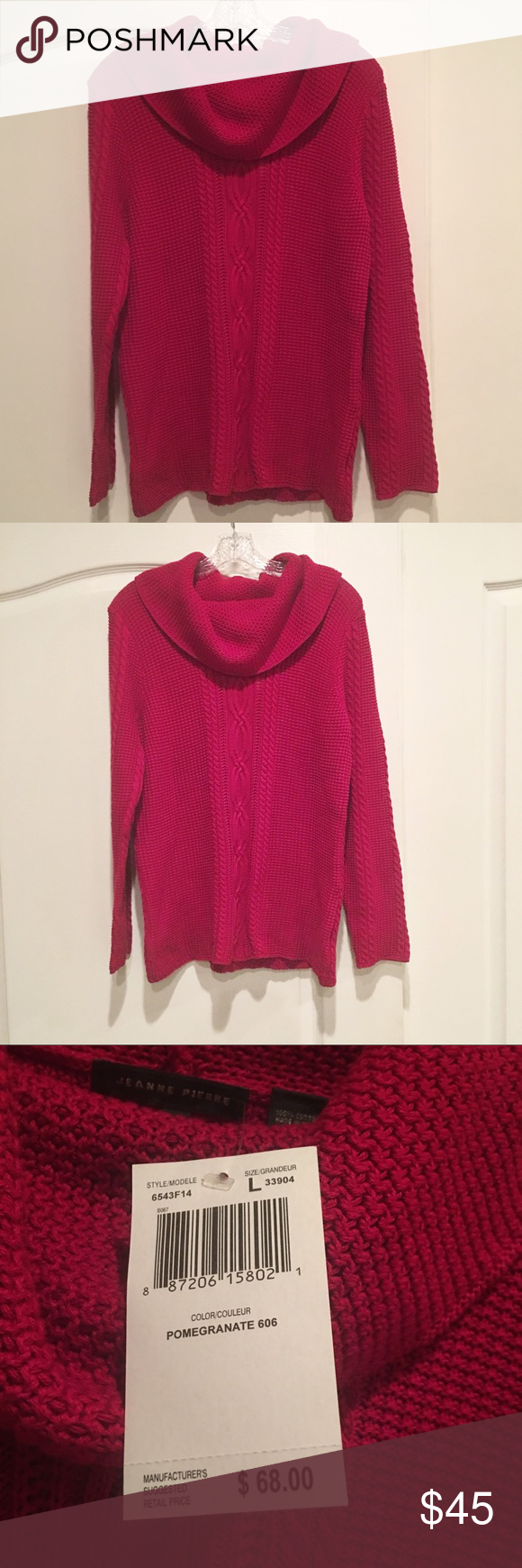 3c42074892 NWT Jean Pierre Red Cable Knit Cowl Neck Sweater New with Tags 100% Cotton.  Beautiful true red color. Jean Pierre Sweaters Cowl & Turtlenecks