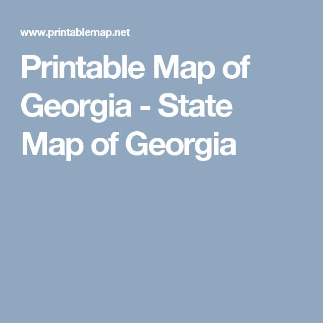 Printable Map of Georgia - State Map of Georgia