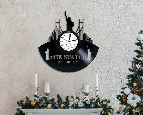 Statue Of Liberty Clock USA Christmas Gift Idea Retro Wall New Year Vintage Vinyl Record Xmas National Monument Art Lp