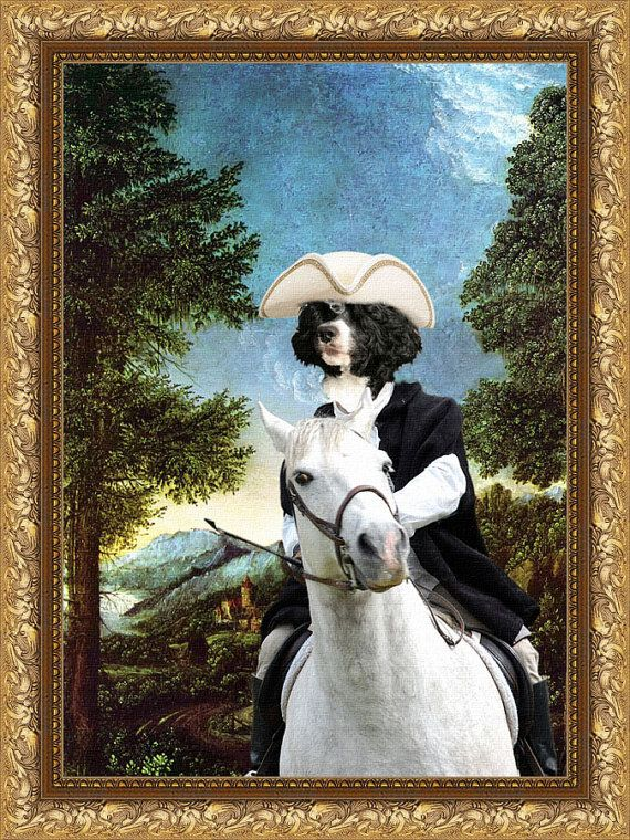 Portuguese Water Dog Art CANVAS Print Fine Artwork by NobilityDogs