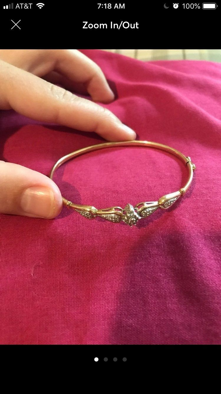 10 Karat Gold Stamped Bangle Bracelet With Real Beautiful Crushed Diamond Bangles Stamped Bracelet Gold Bangles