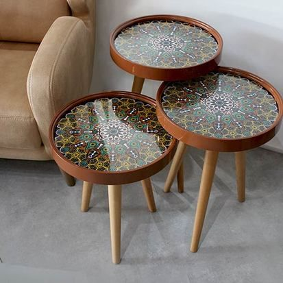 Fancy Set Of Three Tables Mandala Design 3 Coffee The Round Models Show A Variety Beautiful Modern Designs On Gl Board