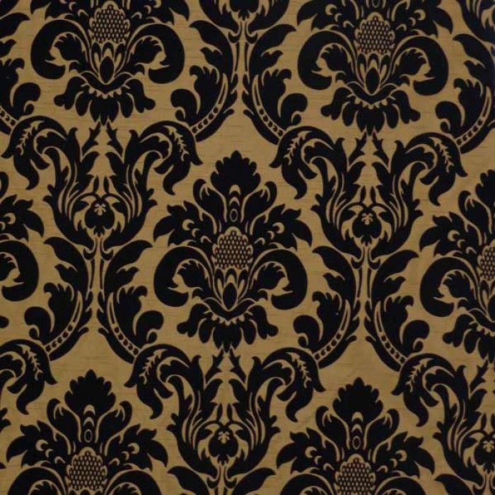 Ferrous Black Gold Damask Fabric By Pattern Black And Gold