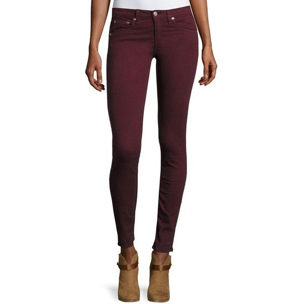 Rag & Bone/Jean SKINNY PORT (215 BRL) ❤ liked on Polyvore featuring jeans, red, fitted jeans, button-fly jeans, red jeans, skinny leg jeans and super skinny jeans
