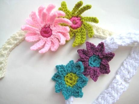 Free Pattern Precious Little Baby Headbands With Flowers Free