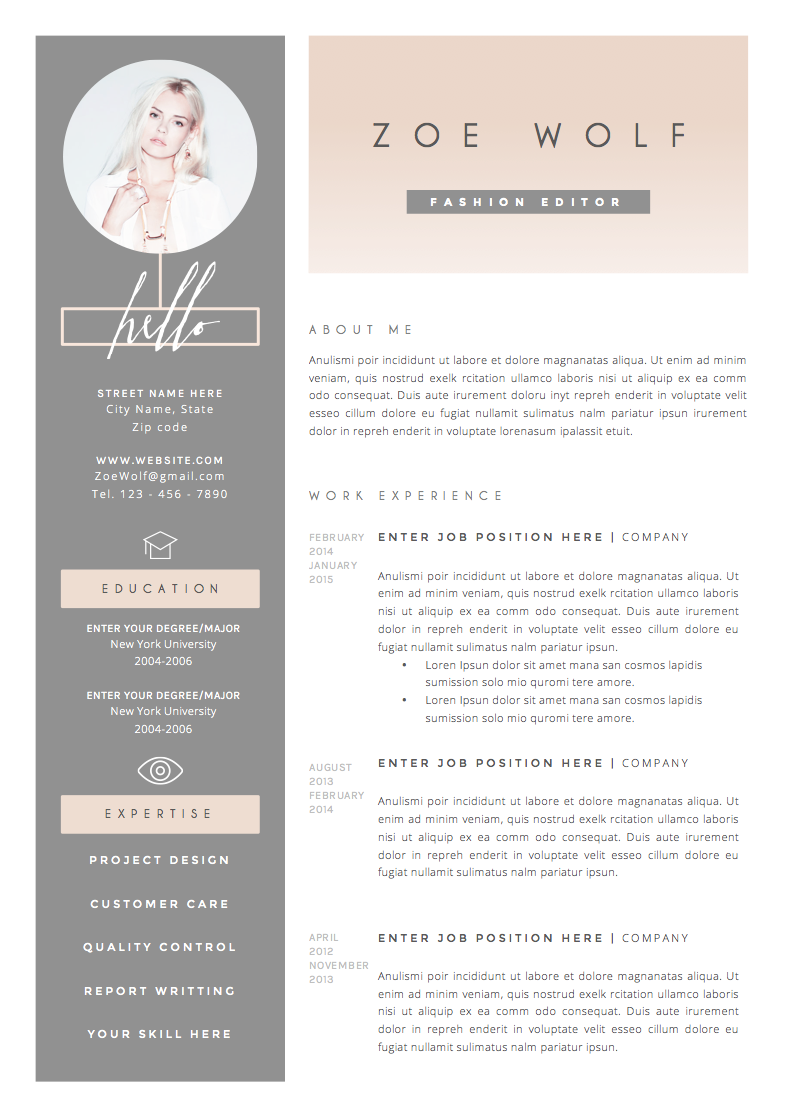 Resume Template 4page | Dolce Vita by The.Resume.Boutique on ...