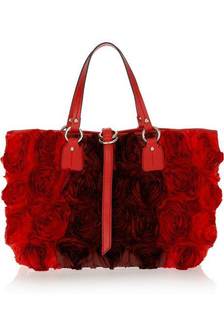 Valentino Silk-Taffeta Rosette Embellished Leather Tote