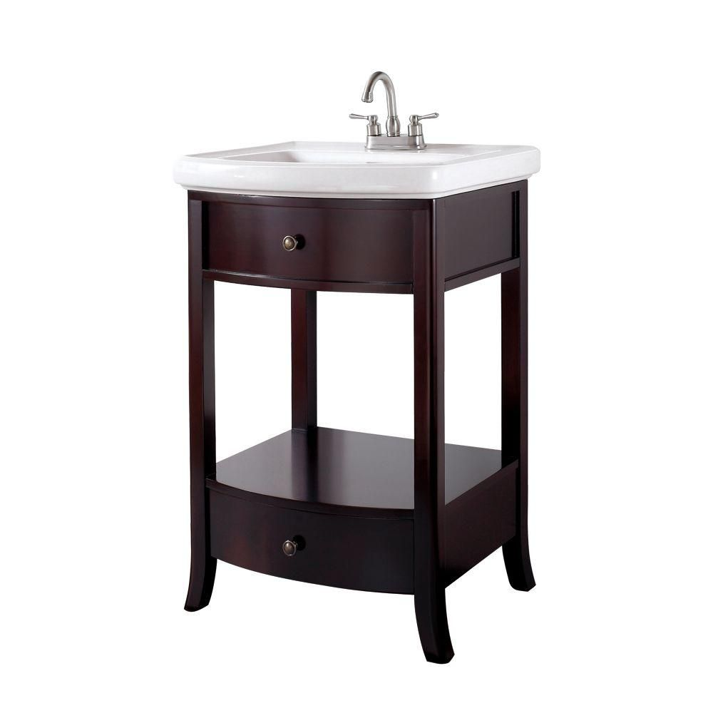 Pegasus Parisian 24-1/2 in. Birch Vanity in Espresso with Vitreous ...