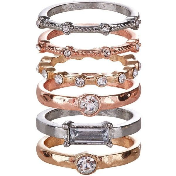 6 Pack Gold Silver and Rose Gold Stack Rings 849 liked on