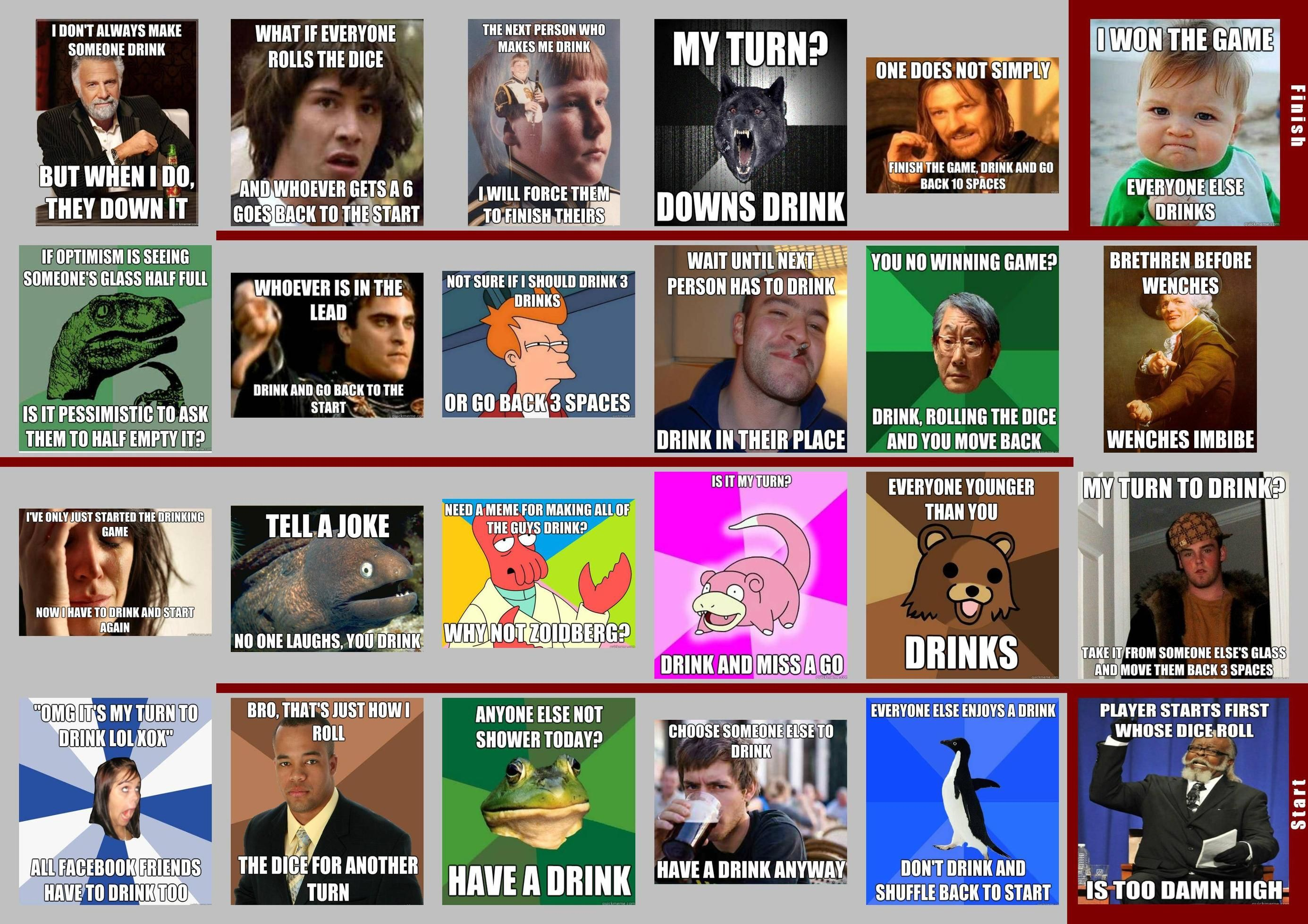 Funny Meme Games For Facebook : New drinking board game uses memes as spaces drinking games