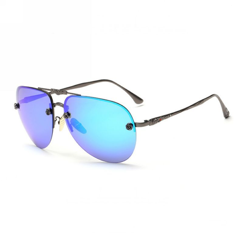 32d89cde2e8 Engraved Polarized Rimless Pilot Sunglasses Gun Grey Blue