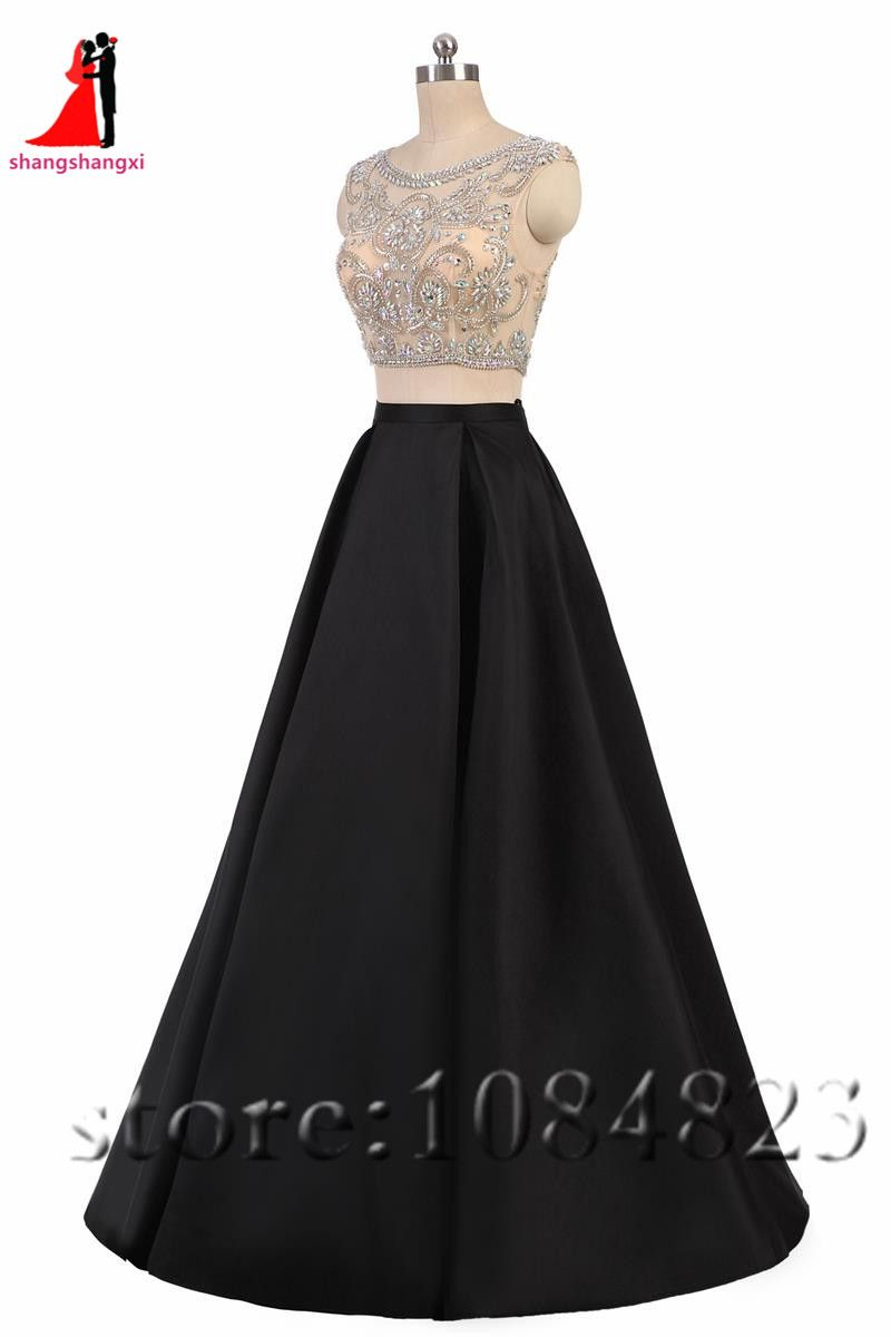 black piece long prom dresses scoop crystals a line plus size
