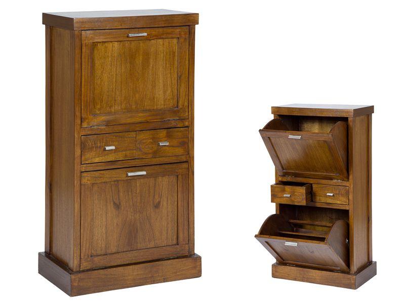 Zapatero madera color nogal. www.actuadecor.com