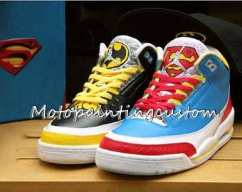 07495cf00ae8e3 Superman and Batman Custom shoes Nike Air Jordan Jordan shoes hand-painted  shoes custom Nike