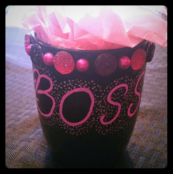 Boss Coffee Mug Black and hot pink bejeweled coffee mug NikkisKupz Other #bosscoffee Boss Coffee Mug Black and hot pink bejeweled coffee mug NikkisKupz Other #bosscoffee