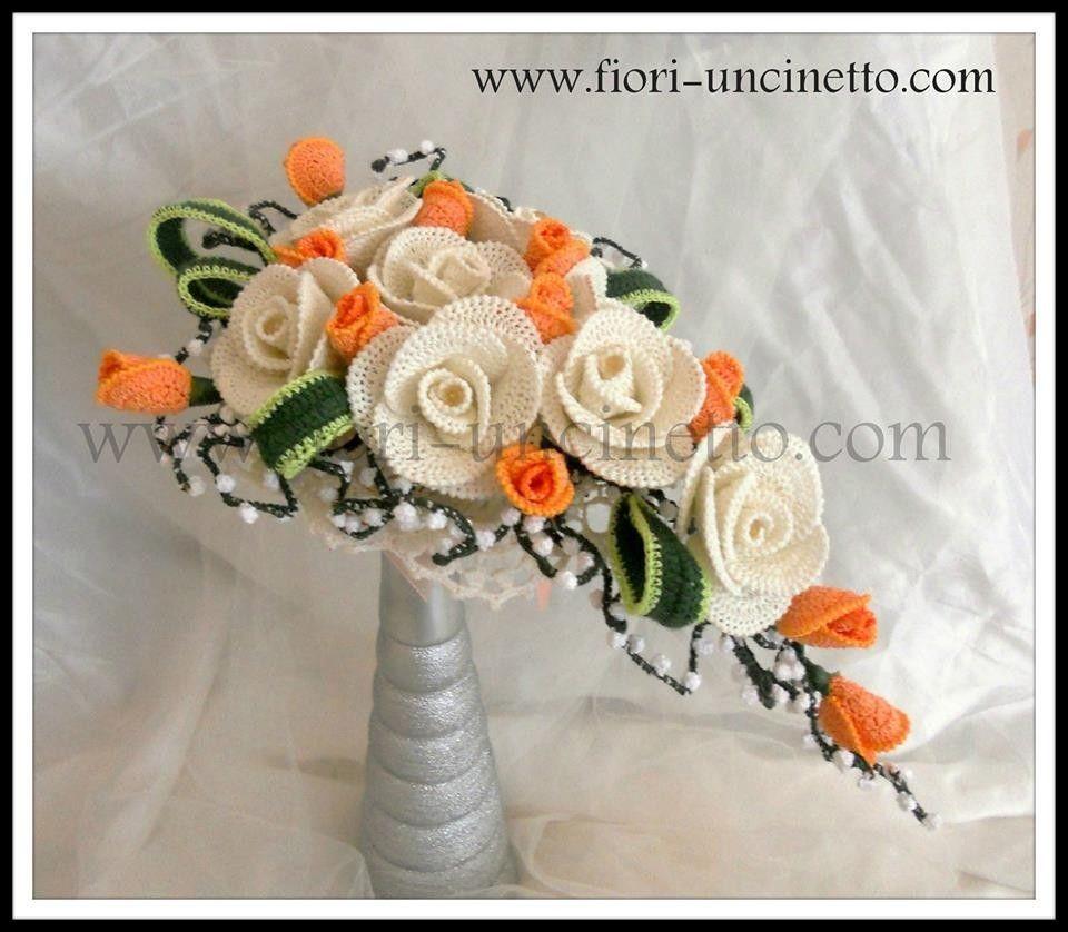 Bouquet Sposa Uncinetto Tutorial.Bouquet Fiori All Uncinetto Crochet Flowers Fiori Di Maglia
