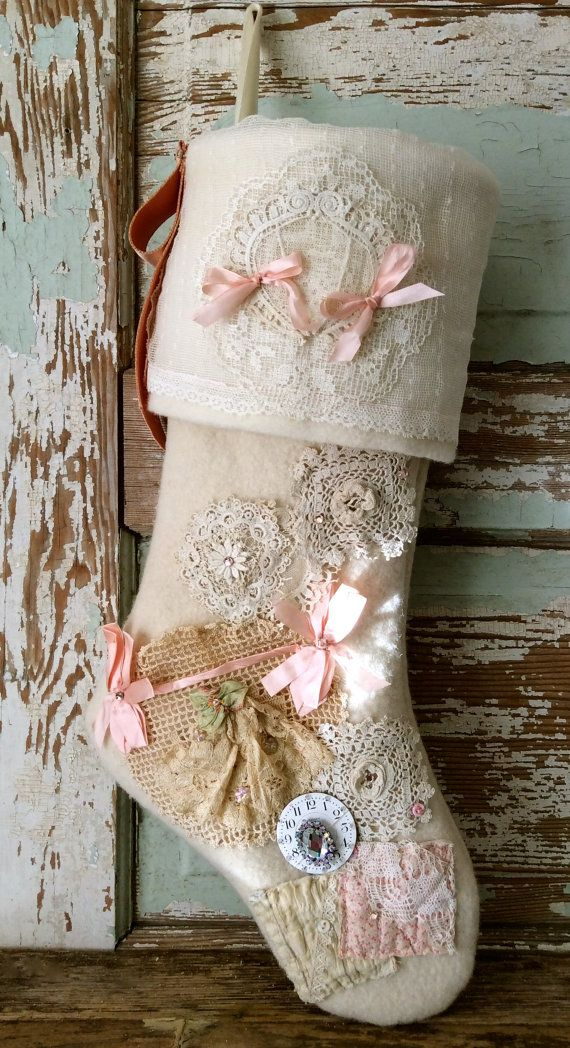 handmade heirloom wool shabby chic christmas stocking by. Black Bedroom Furniture Sets. Home Design Ideas
