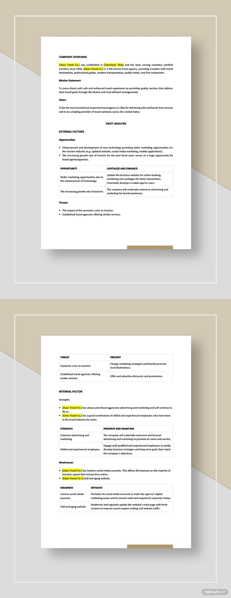 Travel Agency Swot Analysis Template Word Doc Apple Mac Pages Google Docs Swot Analysis Template Travel Agency Swot Analysis