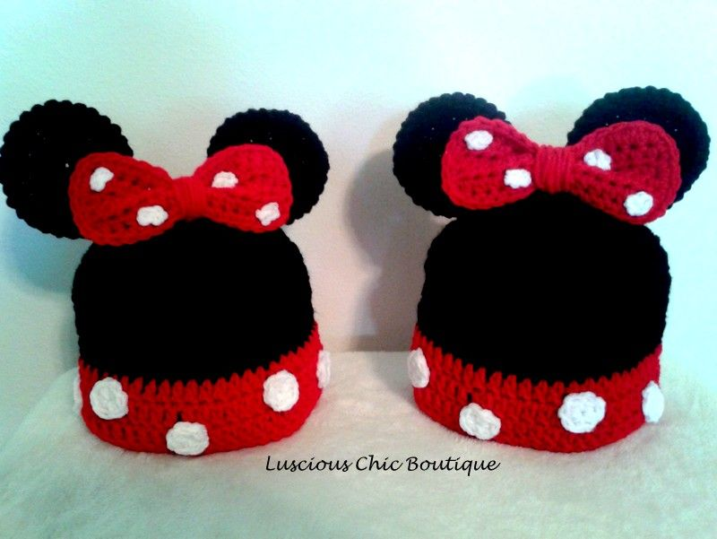 Crochet Minnie Mouse Inspired Hats - Now available to order!