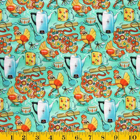 Novelty Print Fabric-Kitchen & Chickens at Joann.com