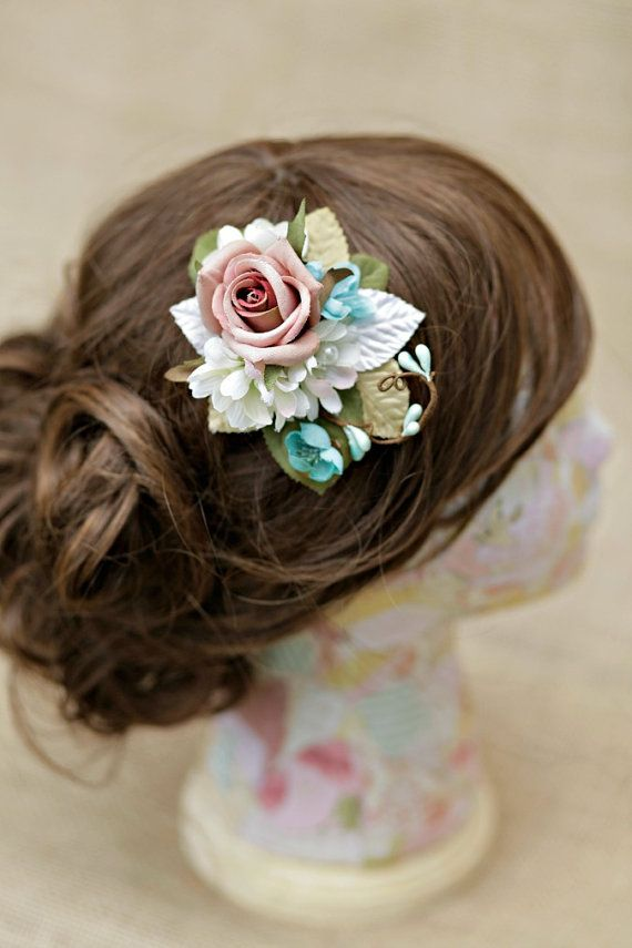 Small vintage look mauve rose bridal hair clip by HollyHoopsArt, $40.00