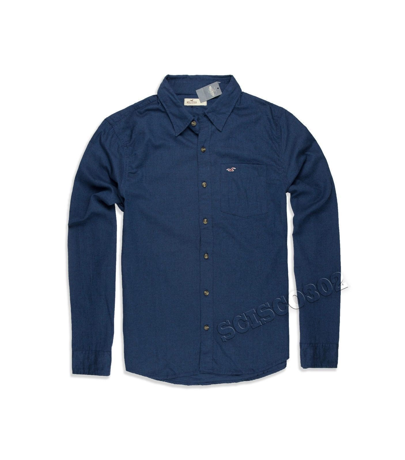 Mens Hollister Button Down Shirt Navy Blue | men's button down ...