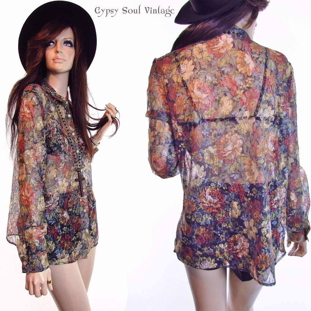 Vintage 70s 80s Shirt Sheer Lace Floral Revival Boho Grunge Club Kid Blouse Top #LacyAfternoon #Grunge #Casual