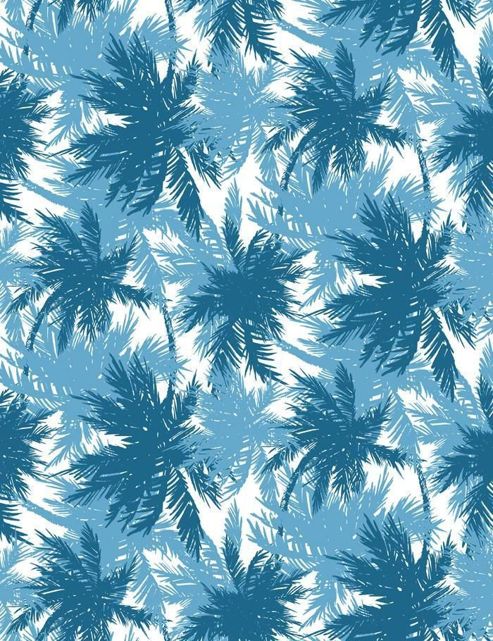'Palm Shuffle' Wallpaper by Wallshoppe - Cadet Blue / Cerulean - Removable Panel