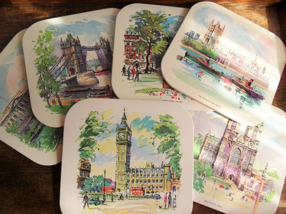Retro London Landmarks Placemats Set Of 6 1950s Dining Big Ben Tower Bridge Square Placemats Vintage Home Decor Mid Century Home Cork Backed London Landmarks Square Placemats Vintage House