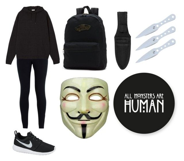 """""""Ninja time..."""" by pastel-grunge-1 ❤ liked on Polyvore featuring NIKE, Vans and Chicnova Fashion"""
