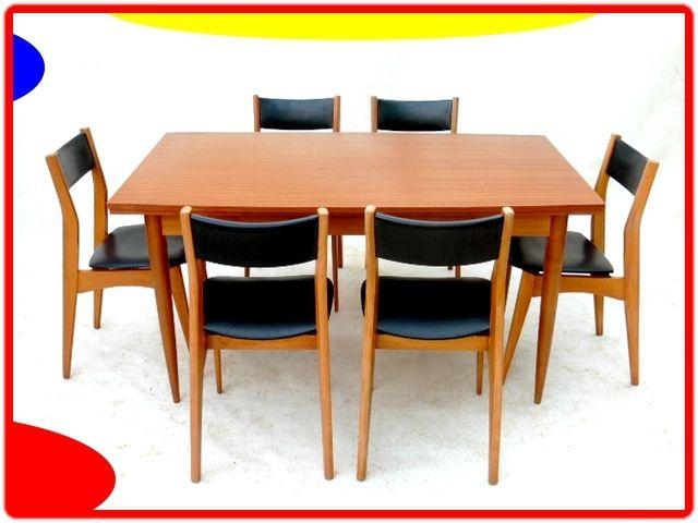 TABLE ET CHAISES DE SALLE à MANGER VINTAGE SCANDINAVE 1960 ...