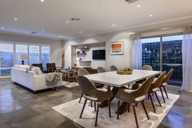 Hochwertig Wohnzimmer Essbereich Offen Creme Braun