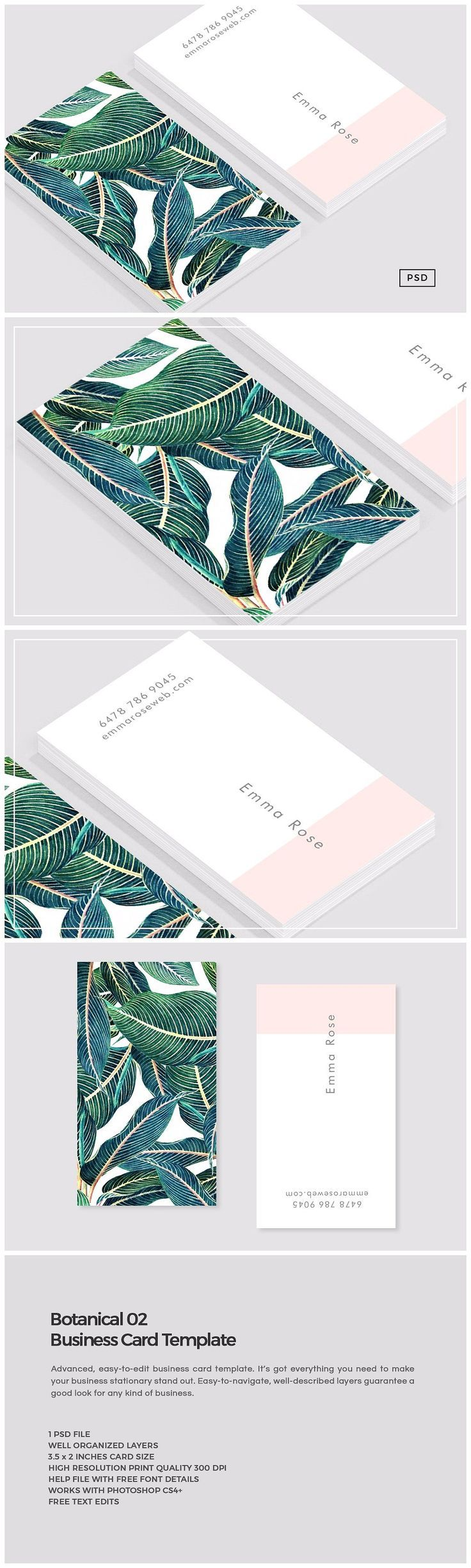Botanical 02 business card template cartes de visita carto e visita botanical 02 business card template by the design label on creativemarket reheart Images