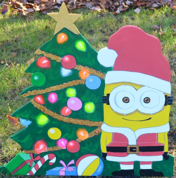 minion as santa clause on christmas lawn decoration - Minions Christmas Decorations