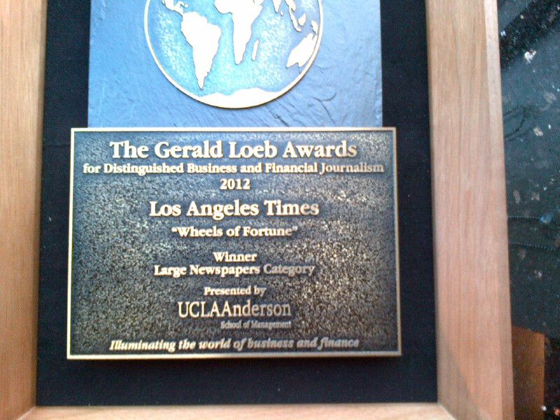 Kudos To Los Angeles Times Business Reporter Ken Bensinger For Winning A Loeb Award His Wheels Of Fortune Series Exposed Wheel Of Fortune Finance Newspapers