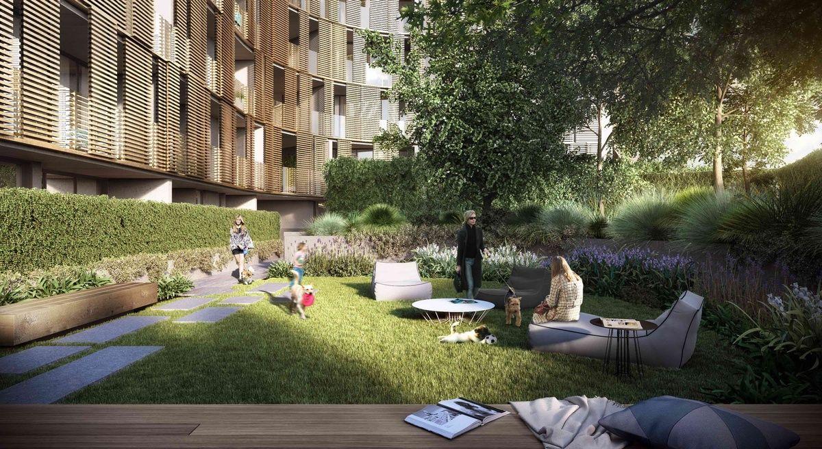 Australia's first apartment dog park? Modern planting