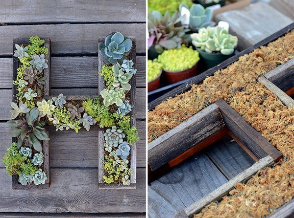 Living wall planters diy ideas wooden letters succulents for Vertical garden planters diy