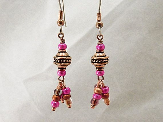 Copper and Hot Pink Beaded Earrings Maharani by thepinkmartini, $15.00