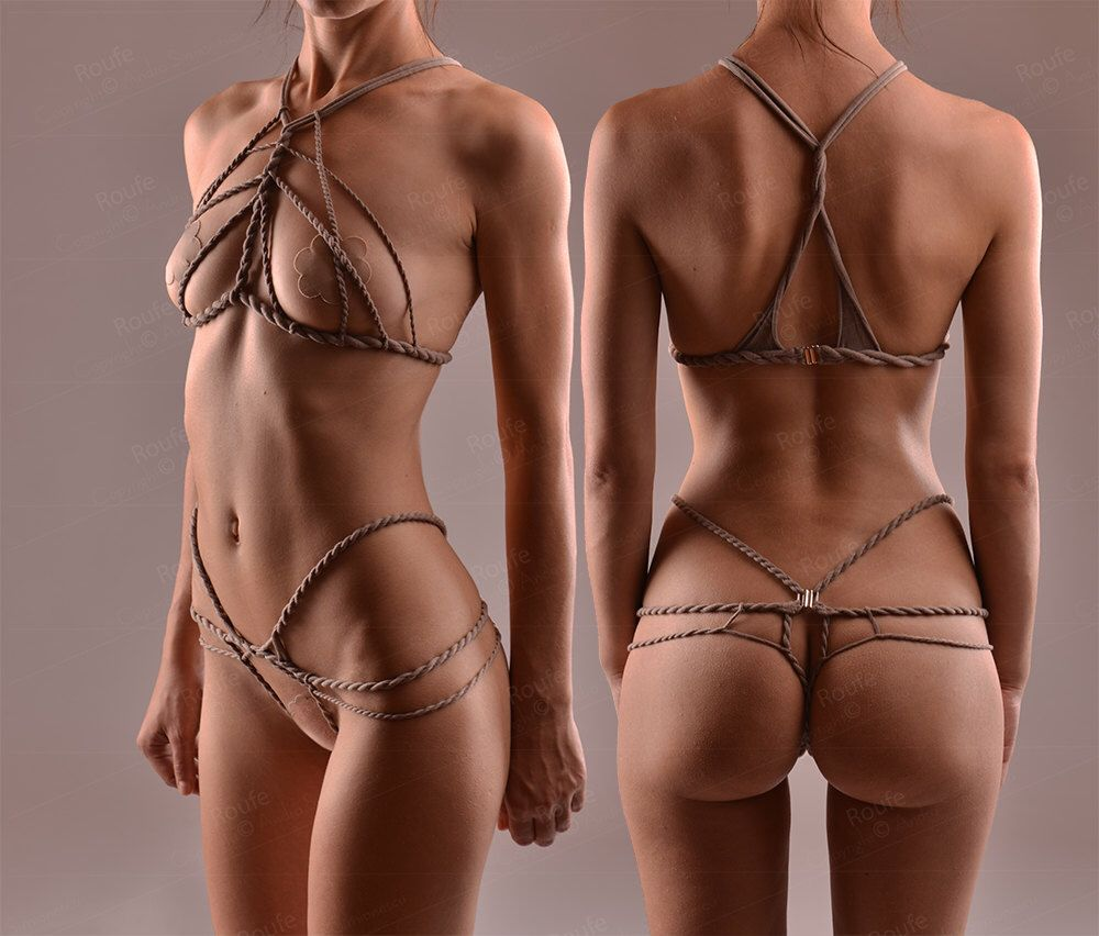 Stretch Shibari Set Stretch Rope Harness Set Crotchless Panties Cupless Top Cage Bra Open Cup Bralette Bondage Lingerie Bdsm By Roufe On Etsy