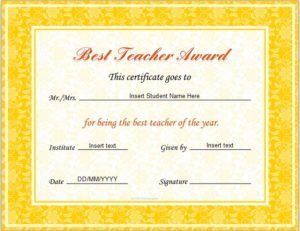 Best teacher award certificate template for ms word download at best teacher award certificate template for ms word download at httpcertificatesinn yelopaper Images