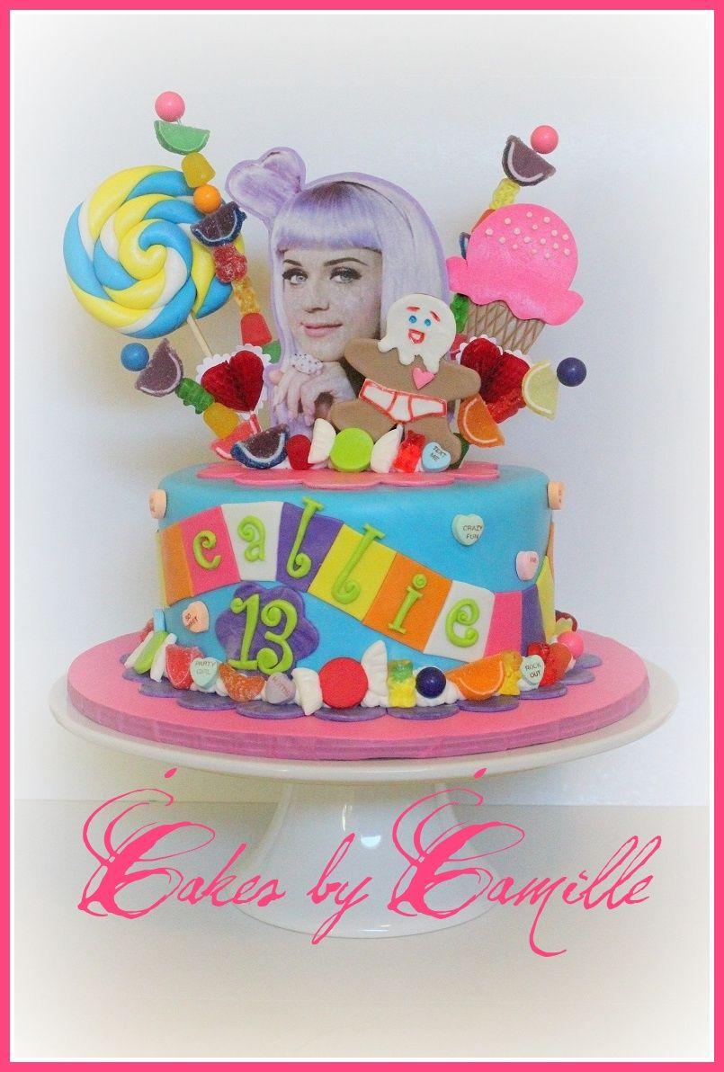 Terrific Katy Perry Californa Girls Cake Katy Perry Birthday Candyland Birthday Cards Printable Inklcafe Filternl