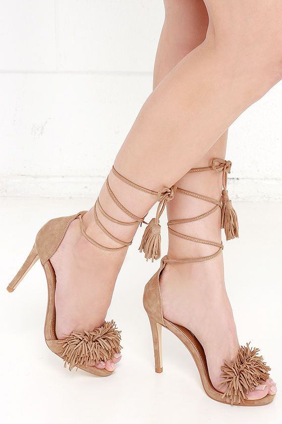 Steve Madden Sassey Blush Suede Leather Lace-Up Heels